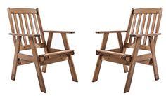 Ambientehome Gartensessel Verstellbarer Sessel Stuhl Gartenstuhl Massivholz  Hochlehner VARBERG, Braun, 2 Teiliges Set