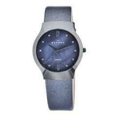 Relógio Skagen Women's 817SBLBC1 Quartz Ceramic Blue Mother-Of-Pearl Dial Watch #Relogio #Skagen
