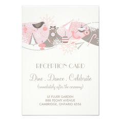 Pink Gray Lovebirds Winter Wedding Reception Card