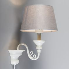 Wall Lamp Marilla White with Grey Shade Bedroom Lighting, Vintage Lighting, Vintage Inspired, Wall Lights, Table Lamp, Shades, Inspiration, Home Decor, Yurts