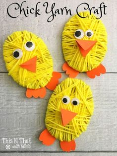 Chick Yarn Craft for Easter - Easter chicks tinker with yarn and loose eyes. A simple craft project for children Easter chicks ti - Diy And Crafts Sewing, Crafts For Kids To Make, Easter Crafts For Kids, Diy Crafts For Kids, Easter Ideas, Kids Diy, Easter Recipes, Bunny Crafts, Easter Decor