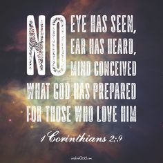 No eye has seen, no ear has heard, no mind conceived what God has prepared for those who love him. -1 Corinthians 2:9