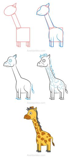 how to draw a giraffe comment dessiner une girafe