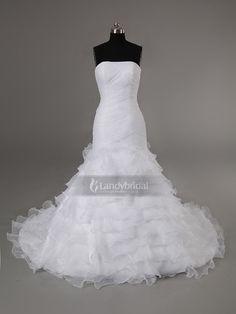 ランディブライダル ウェディングドレス マーメイド ビスチェ チャペルトレーン ホワイト ブライダル 結婚式 二次会 披露宴 H7lblb3216