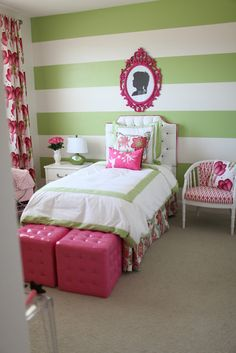 Pink and Green Bedroom  I kind of like the stripes...but would add some polka dots somewhere :)