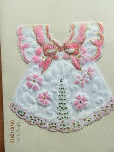 Parchment card for Baby Girl announcement. Experimented using some embroidery and gold ink to add more effects.