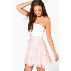 Boohoo Laili Baroque Organza Skater Mini Skirt | Boohoo (330 MXN) ❤ liked on Polyvore featuring skirts, mini skirts, blush, short white skirt, zipper skirt, baroque skirt, short mini skirts and organza skirt