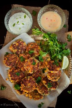 Corn, Cabbage and Zucchini Fritters with Sweet Chilli Mayo and Mint Yogurt Dip | The Gastronomic BONG