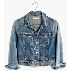 MADEWELL The Crop Jean Jacket ($118) ❤ liked on Polyvore featuring outerwear, jackets, coats & jackets, denim jacket, jean jacket, roscoe, cotton jacket, madewell, cropped jean jacket and blue cropped jacket