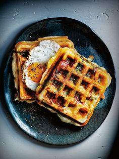 Smoky chorizo, haloumi & spinach breakfast waffles from Donna Hay magazine issue Waffle Recipes, Brunch Recipes, Dessert Recipes, Breakfast Desayunos, Breakfast Ideas, Breakfast Sandwiches, Brunch Ideas, Yummy Food, Tasty