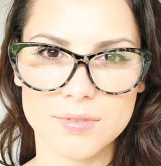 Clear Lenses Cat Eye Army Frame Womens Sexy Eye Glasses