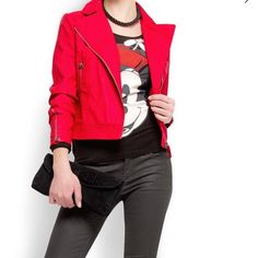 Red biker jacket 💕 So chic biker jacket 💕 worn 3 times. In great condition overall except for rip at the neck which are not visible or generally hidden by hair 😜 fair offers would be considered . Bundles are always welcomed - 15% off on 2 items and 20% off in 3 or more items. Material - Polyester and viscose Mango Jackets & Coats