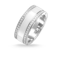 band ring white ceramic pavé - – from the Women collection from € Order now easy & secure in our official THOMAS SABO online shop! Manufactured Stone, Ring Crafts, Thomas Sabo, Jewelry Packaging, Black Rings, White Ceramics, Wedding Rings, Engagement Rings, Band