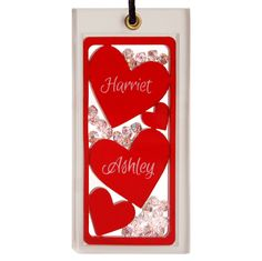 Personalised Hanging Charm with red hearts and little crystal beads. Handmade gift by Spaceform, London.