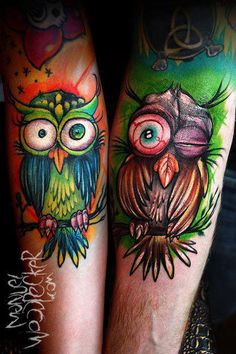 These are so sick. Awesome color - an anternative take to the Owl tattoo