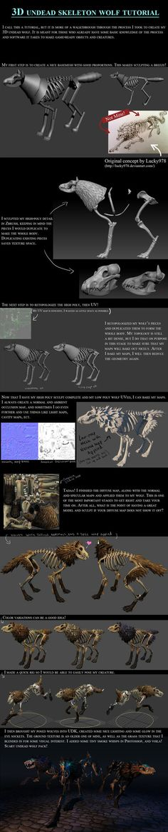 3D Skeleton Wolf Tutorial by *100chihuahuas on deviantART #3d #sculpting #tutorials