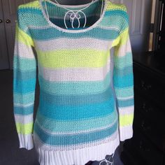 Striped sweater AE size XS sweater.  Beautiful colors is neon green, teal, and cream.   Never worn, and in perfect condition.  Great for spring time and cool summer nights on the beach. American Eagle Outfitters Sweaters Crew & Scoop Necks