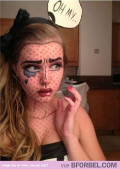 Comic book Halloween make up. Awesome.