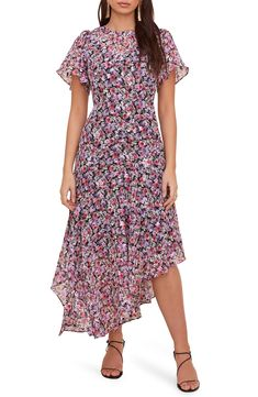Free shipping and returns on ASTR the Label Floral Print Dress at Nordstrom.com. <p>An asymmetrical hem and flutter sleeves add breezy, dynamic movement to this fun and flowery dress.</p> Dress P, Lace Dress, Floral Dress Design, Flowery Dresses, Apparel Design, Nordstrom Dresses, Fit Flare Dress, Floral Prints, Short Sleeve Dresses