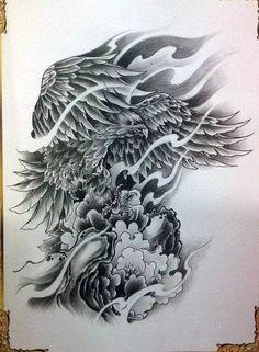 Japanese Phoenix Tattoo, Japanese Tattoo Art, Tattoo Design Drawings, Tattoo Sketches, Owl Tattoo Wrist, Ave Tattoo, Bird Of Prey Tattoo, Tattoo No Peito, Polynesian Tribal Tattoos