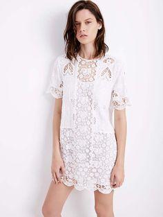 Vestido blanco brocado de Zara,