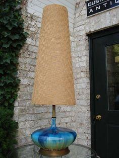 Extra Tall Mid-Century Ceramic Lamp at - Lampshade Modern Tall Lamps, Ceramic Lamp, Mid Century Ceramics, Mid Century, Mid Century Lamp, Vintage Table Lamp, Pottery Lamp, Tall Table Lamps, Vintage Lamps