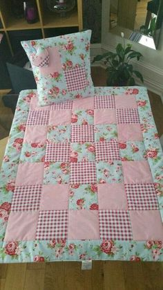 Cath Kidston Lap Quilt Set Quilt with by TraceysTreasureChest # patchwork quilts shabby chic Vintage style baby quilt cot quilt crib quilt true vintage French chic quilt handmade Quilt Baby, Baby Patchwork Quilt, Cot Quilt, Patchwork Quilt Patterns, Baby Girl Quilts, Lap Quilts, Girls Quilts, Quilting Patterns, Baby Quilt For Girls