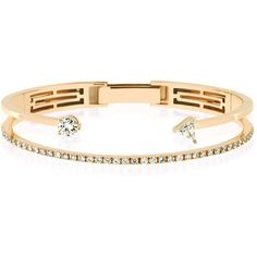 Delfina Delettrez Pink Gold And Diamond Open Bracelet ($24,300) ❤ liked on Polyvore featuring jewelry, bracelets, rose gold bracelet, bracelet jewelry, diamond bangle, diamond jewellery and rose gold jewelry