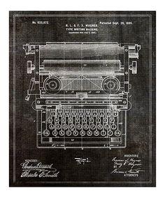 'Type Writing Machine' Patent Art Print