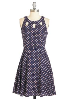 Raise a toast to the eye-catching charm of this patterned dress! Starring a cutout-adorned neckline and an ivory-, fuchsia-, and lilac-toned tiled print, this navy-blue frock puts a spotlight on your captivating taste and heart-warming eloquence. Unique Dresses, Cute Dresses, Casual Dresses, Short Dresses, Fashion Dresses, Mod Dress, Dress Skirt, Pretty Outfits, Cute Outfits