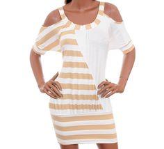 LAST+ONE+IN+STOCK!!!+Striped+Peekaboo+Shoulder+Color+Block+Beach+Dress