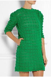 Шишечки в ряд - элегантный наряд. Платье, жакет крючком.