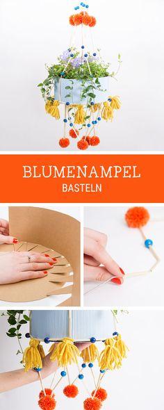 Bunte Blumenampel im mexikanischen Stil basteln, Deko für Zuhause / diy tutorial for a hanging flower pot, pajaki style via DaWanda.com Craft Tutorials, Mobiles, Bunt, Gypsy, Flora, Crafting, Bedroom, How To Make, Diy