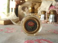 Vintage Miniature Scent Bottle Embroidered Petit Point Roses #c
