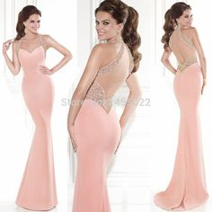 Abendkleider 2015New Arrival Halter Beaded Mermaid Pink Prom Dresses Backless Luxury Long Crystal Evening Dress Vestido de Festa-in Prom Dresses from Weddings & Events on Aliexpress.com | Alibaba Group
