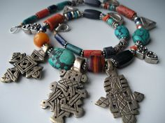 Coral Lapis Turquoise Silver Necklace with Telsum and Coptic Crosses from Ethiopia