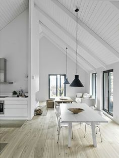 Pitched Roofing + Wooden Beams - The Design Chaser. kitchen. dining room. home decor and interior decorating idea. painted wood ceilings