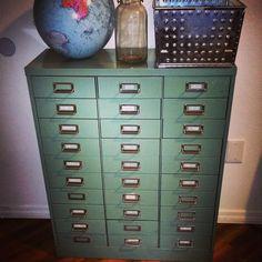 Blue Industrial Metal File Cabinet Organizer 33 Drawers. $450.00 ...