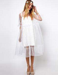 Картинки по запросу Molly Goddard Embroidered Long Sleeve Smock Dress