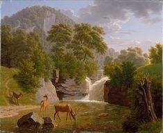 Mountain Landscape with Deer at a River Johann Jakob Biedermann (Swiss, born and died Zurich, Switzerland, Medium: Oil on paper laid down on canvas Classification: Paintings Morgan Library, Over The River, Classical Art, Prehistory, Mountain Landscape, Museum Of Fine Arts, World Cultures, Metropolitan Museum, Medium Art