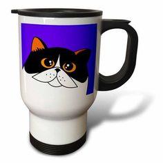 3dRose The Curious Cat Calico with Orange Eyes Purple, Travel Mug, 14oz, Stainless Steel
