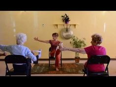 Great for Beginners of any age ▶ Actively Aging with Energizing Chair Yoga - Seniors get Moving! - YouTube