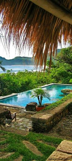 Pool and ocean view from lodge, Morgan's Rock, Nicaragua. cropped.