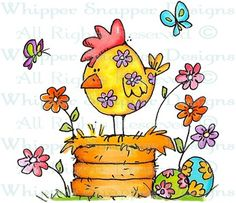 Floral Spring Chicken - Rubber Stamps - Shop @ http://www.whippersnapperdesigns.com/floral-spring-chicken-11963.html