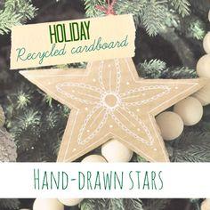 Hand-drawn recycled cardboard stars - Jennifer Rizzo