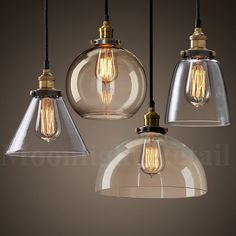 Shade Color : Clear Glass (Not Smoked or Not Amber)(Style A,B,C,D,E ). Type: Pendant Light. Shade Dia: 15 cm to 28cm (depends on your choice). Cord : Black Fabric - Aprox 1 meter (It can be shorten- Adjustable). | eBay!