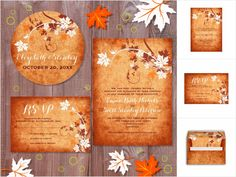 Maple leaves fall wedding invitations collection - Elegant maple leaves orange fall wedding invitations collection that features elegant maple leaves in orange, white and brown colors and swirls on burnt orange grunge stained background. It includes apart from wedding invitations Save the Dates, escort place cards, wedding programs, menu cards, bridal and couples shower invites, stamps, stickers and more. This elegant modern wedding design ...