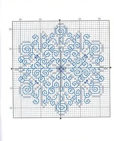 Lovely pattern for a X-stitch and Blackwork snowflake - would be wonderful in sparkly yarn. Motifs Blackwork, Blackwork Cross Stitch, Blackwork Embroidery, Cross Stitching, Cross Stitch Embroidery, Embroidery Patterns, Just Cross Stitch, Cross Stitch Charts, Cross Stitch Designs