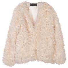 Stylenanda Women's Basic Boxy Fur Jacket ($110) ❤ liked on Polyvore featuring outerwear, jackets, tops, coats, pink jacket, boxy jacket, pink fur jacket and fur jacket