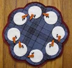 Snowbuddies Wool Candle Mat by QuiltgirlsCreations on Etsy